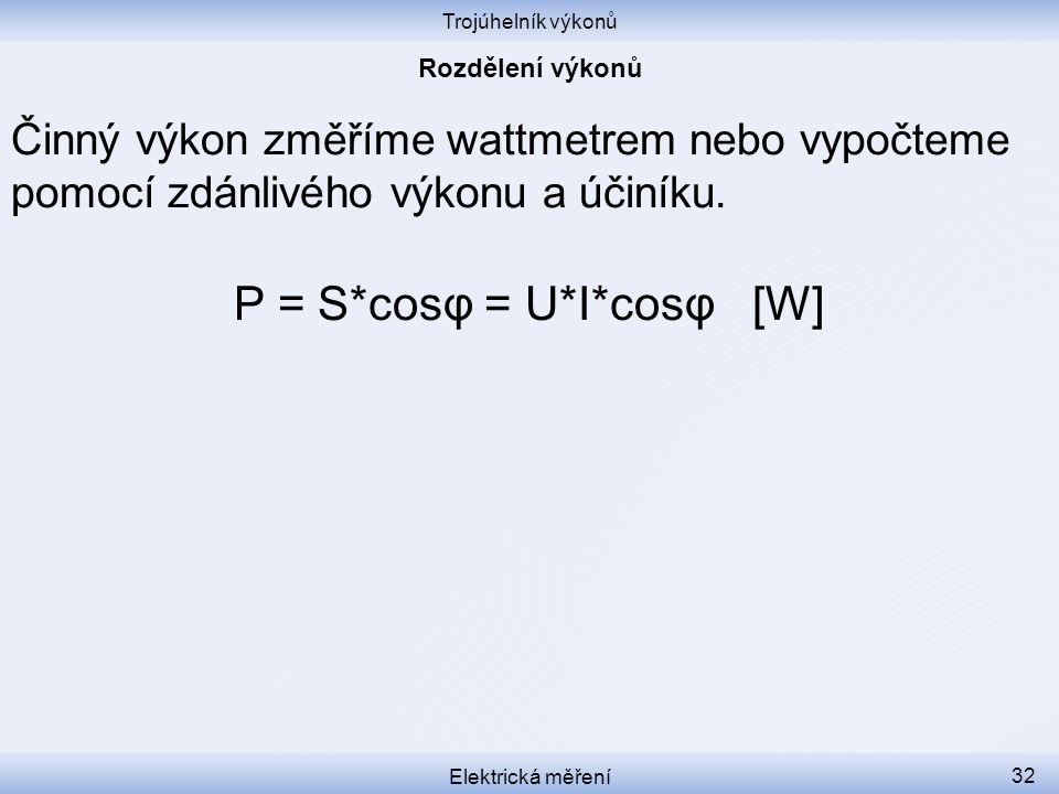 P = S*cosφ = U*I*cosφ [W]